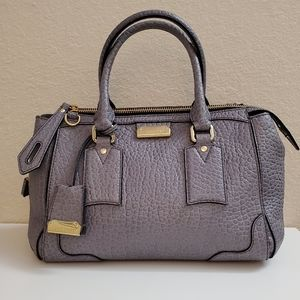 BURBERRY Grey Heritage Grain Leather Bag